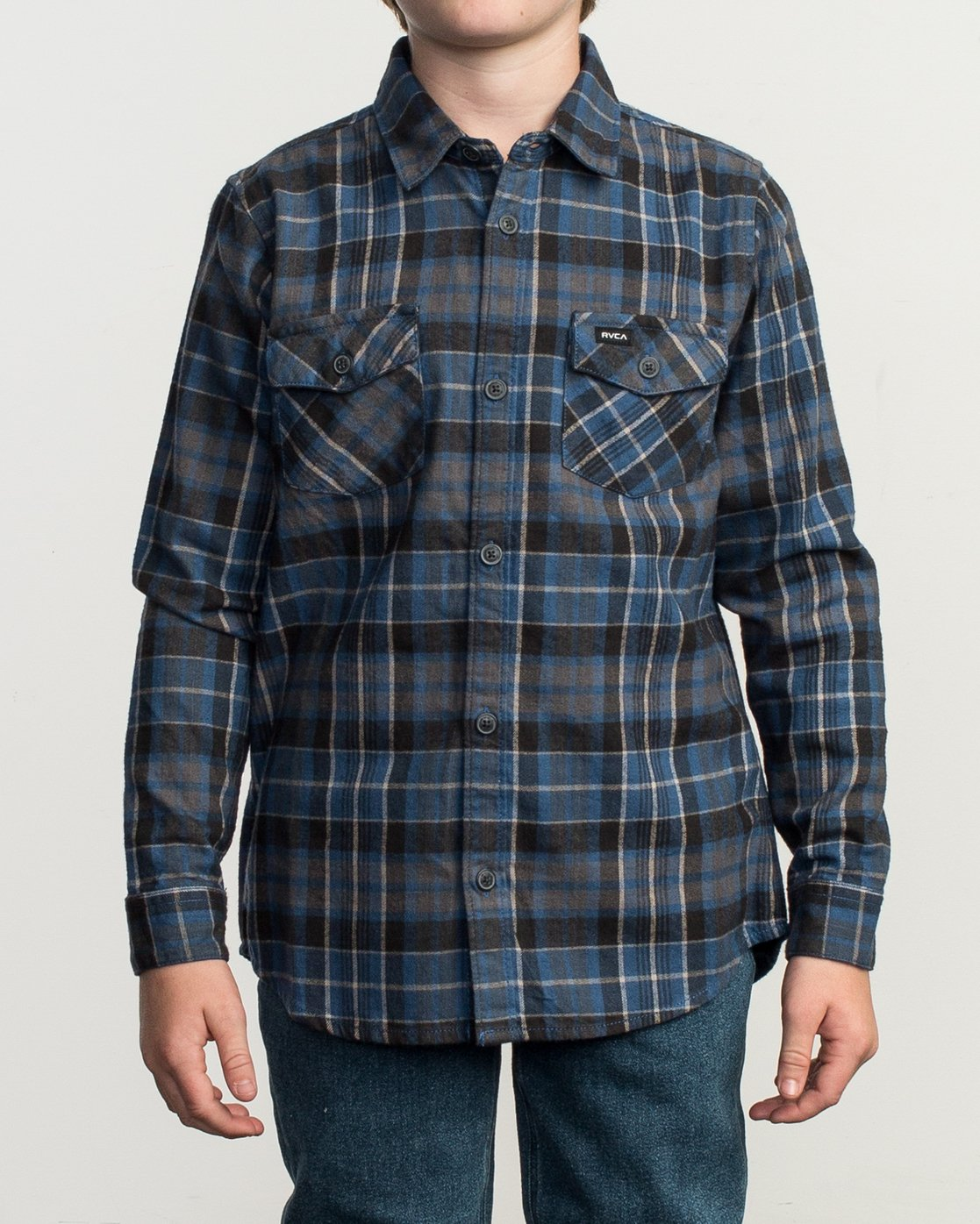 1 Boy's Watt Flannel Shirt Blue B553TRWF RVCA