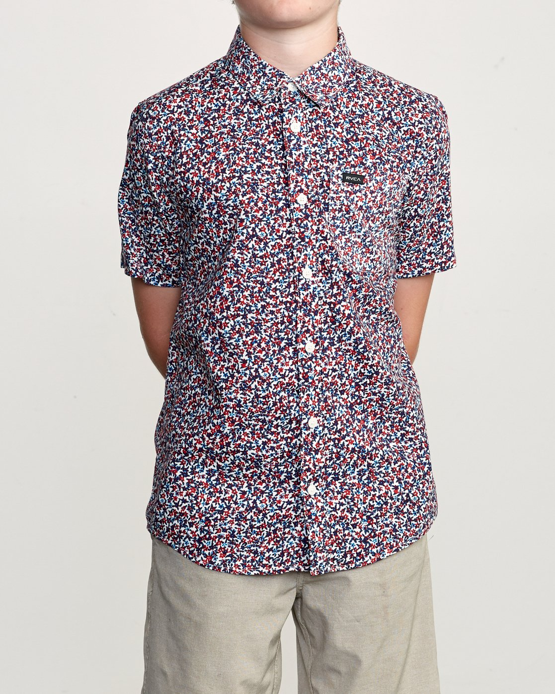 1 Boy's Revivalist Floral Button-Up Shirt White B556URRF RVCA