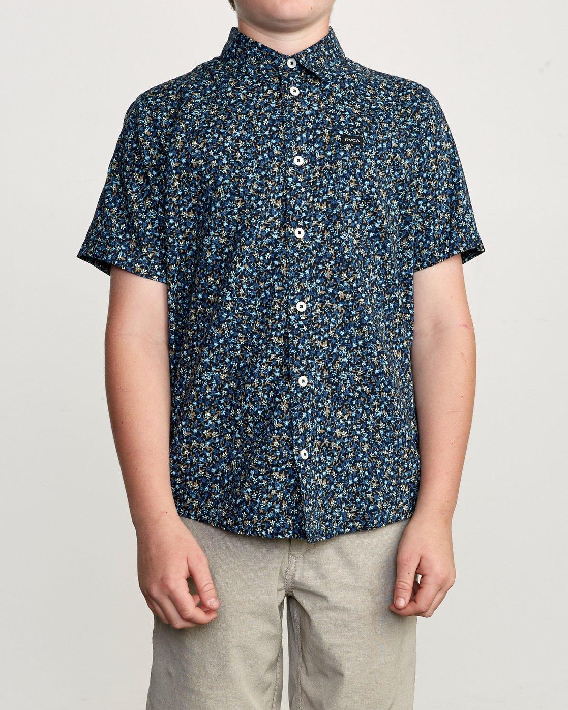 1 Boy's Revivalist Floral Button-Up Shirt Blue B556URRF RVCA