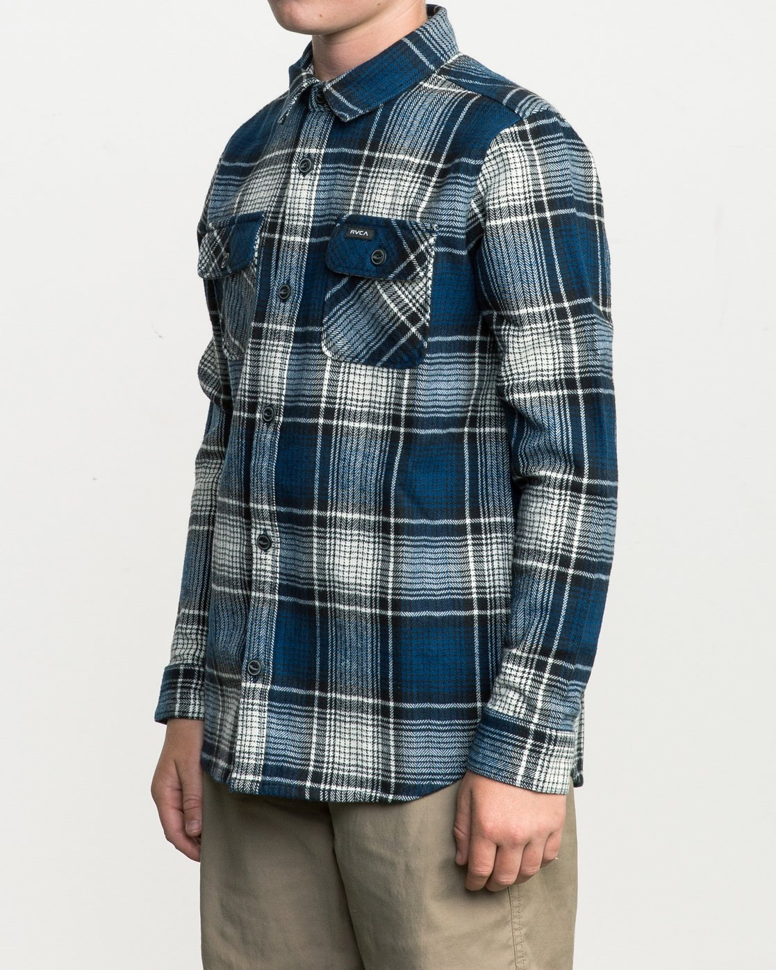 2 Boy's High Plains Plaid Flannel Blue B558SRHP RVCA