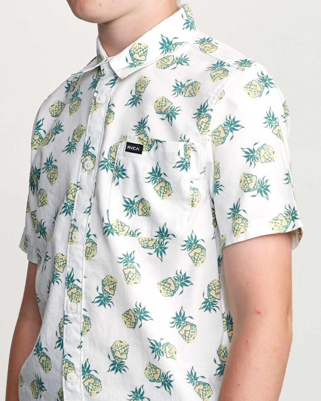 4 Boy's ANP Pack Button-Up Shirt White B561URPP RVCA
