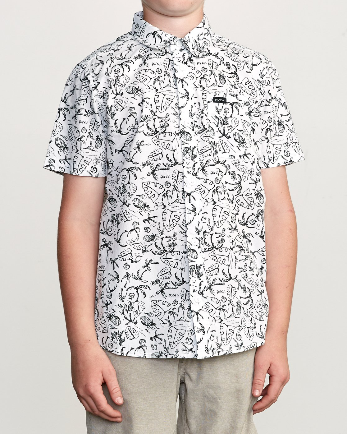 1 Boy's Sketchy Palms Button-Up Shirt White B572URSP RVCA