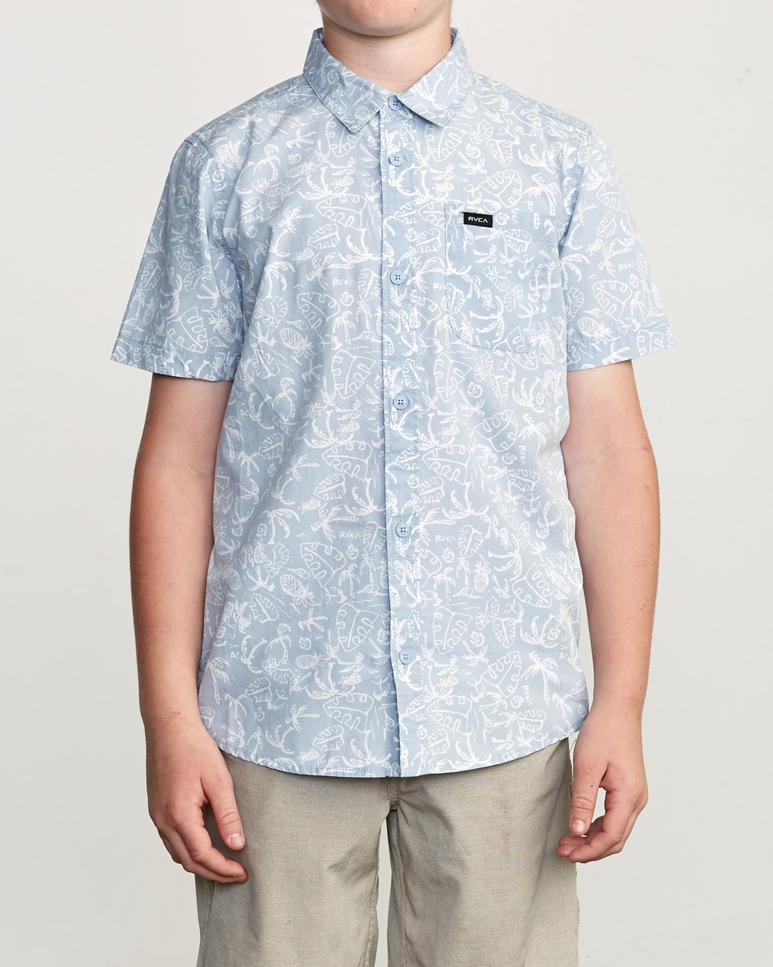 1 Boy's Sketchy Palms Button-Up Shirt Blue B572URSP RVCA