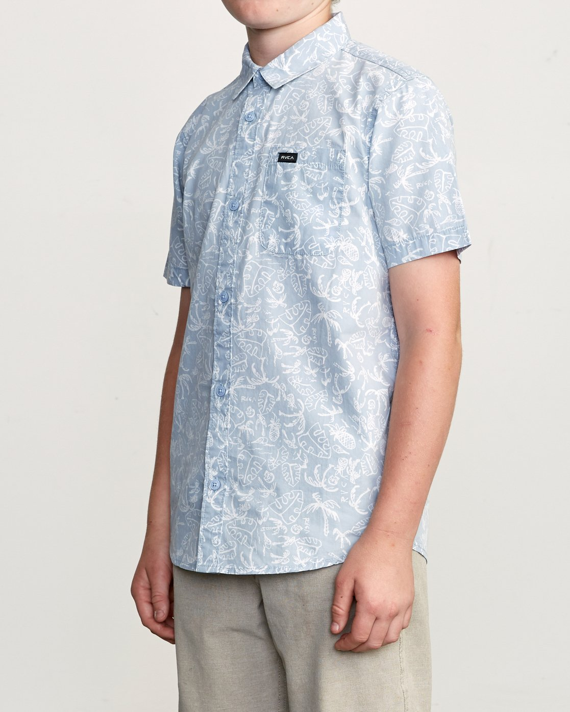 2 Boy's Sketchy Palms Button-Up Shirt Blue B572URSP RVCA