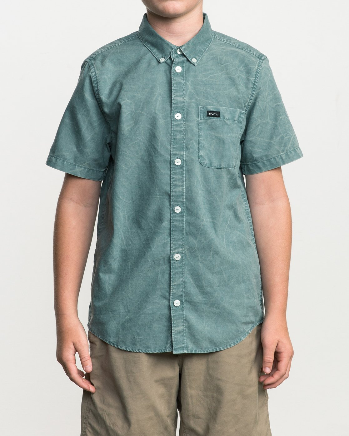 1 Boy's That'll Do Washed Button-Up Shirt Green B592SRTR RVCA