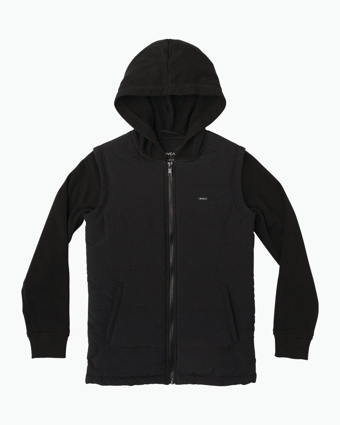 0 Boy's Logan Puffer Jacket Black B606QRLG RVCA