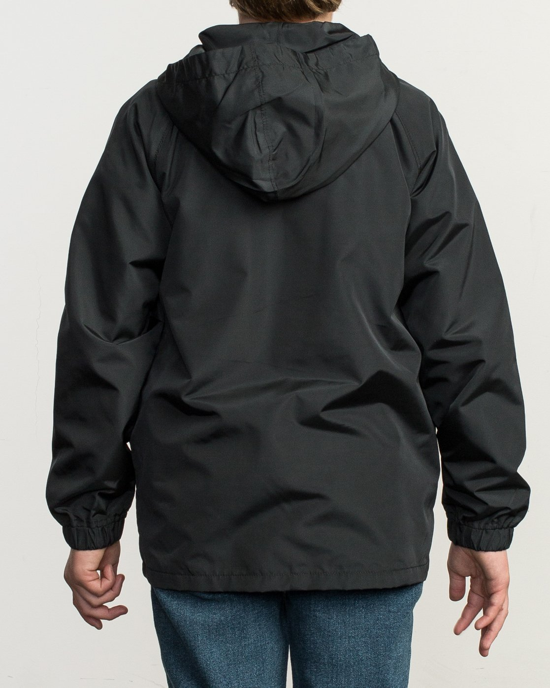 3 Boy's VA Hooded Coaches Jacket Black B701NRVA RVCA