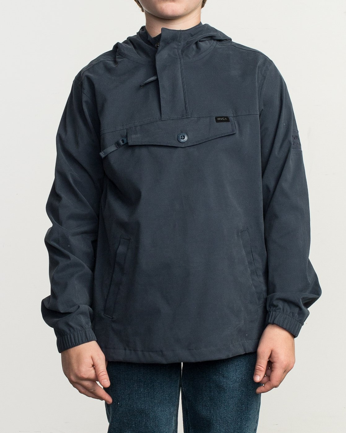 1 Boy's On Point Packable Anorak Jacket Blue B701TROP RVCA