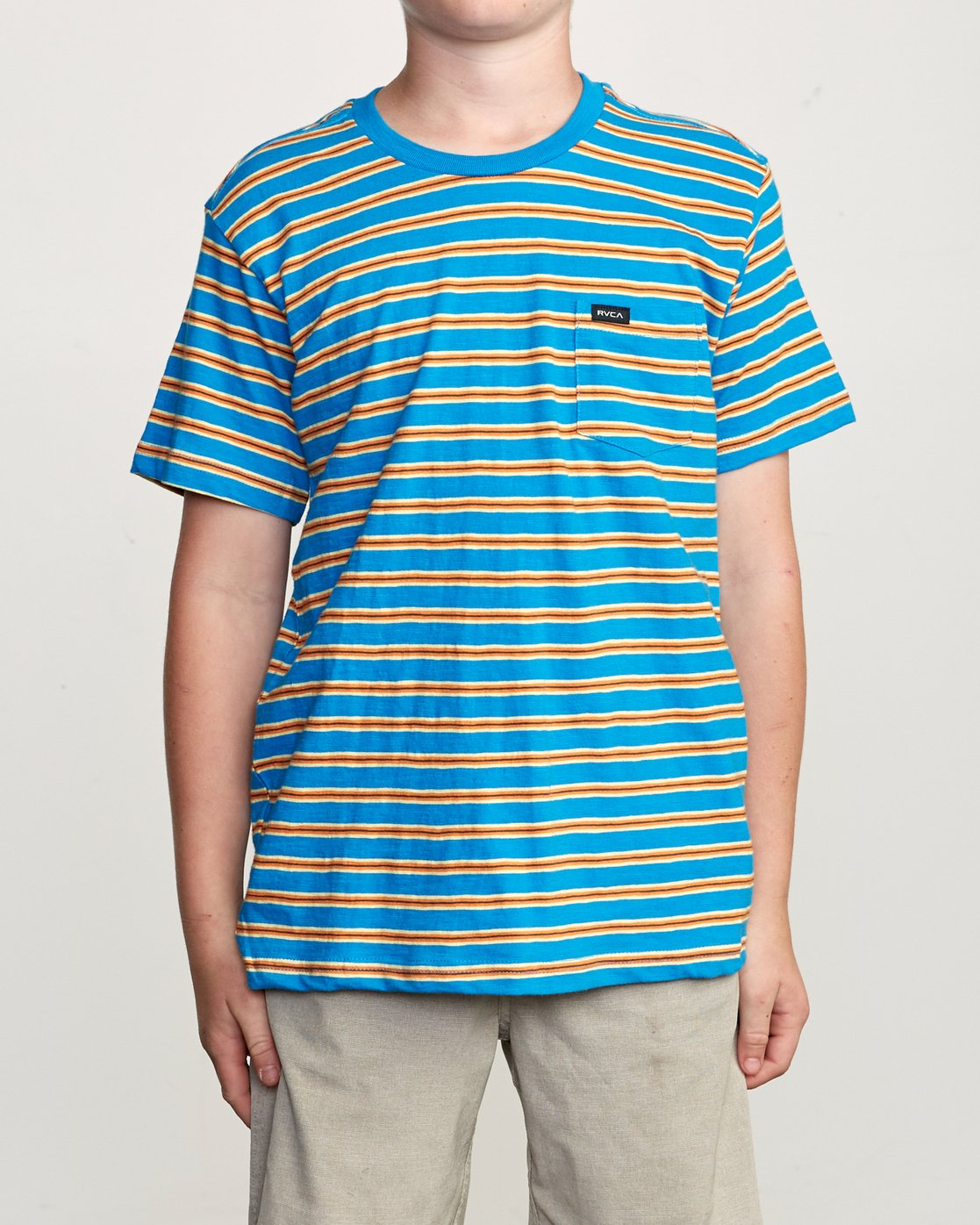 1 Boy's Vincent Stripe Pocket T-Shirt Blue B904URVS RVCA