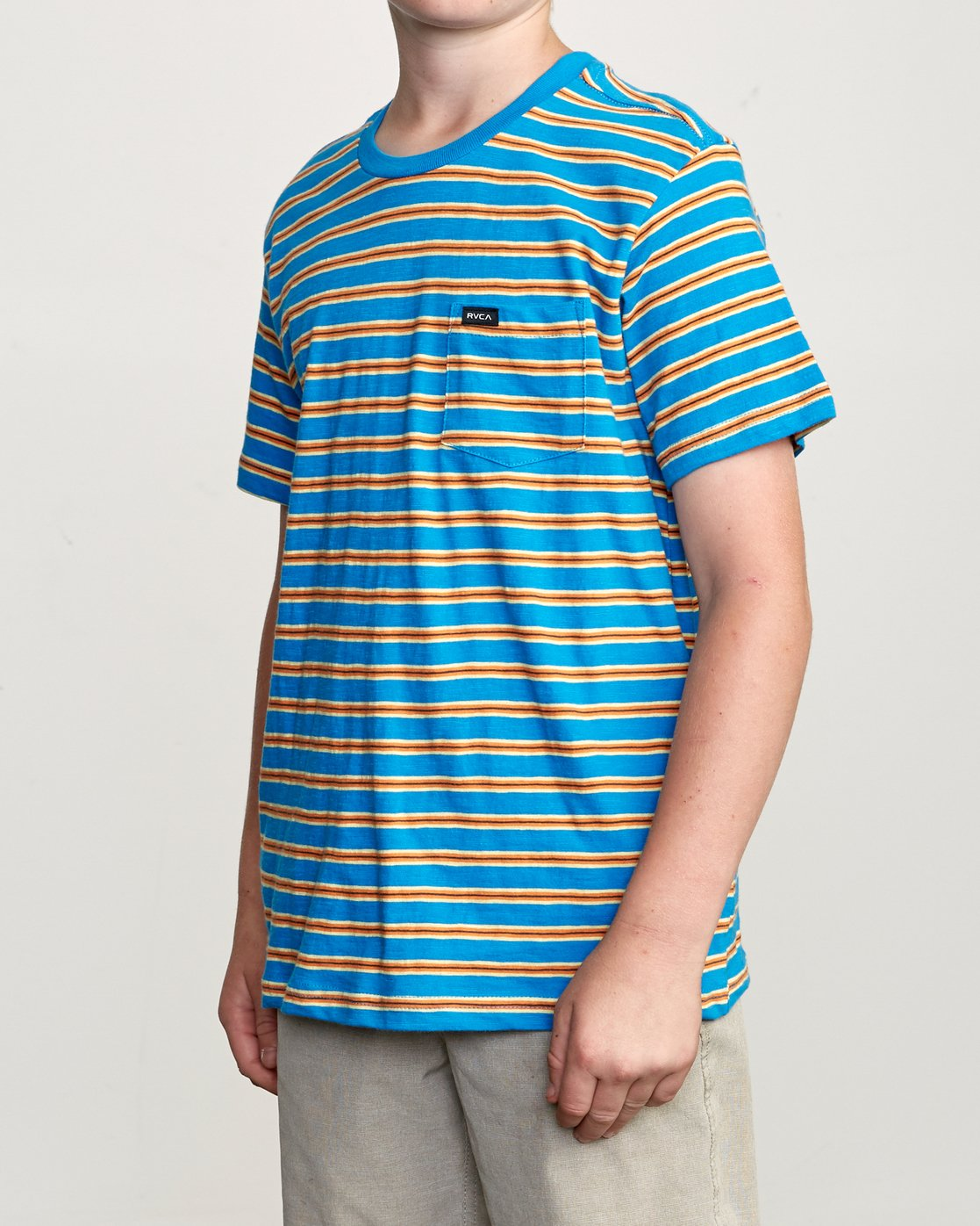 2 Boy's Vincent Stripe Pocket T-Shirt Blue B904URVS RVCA
