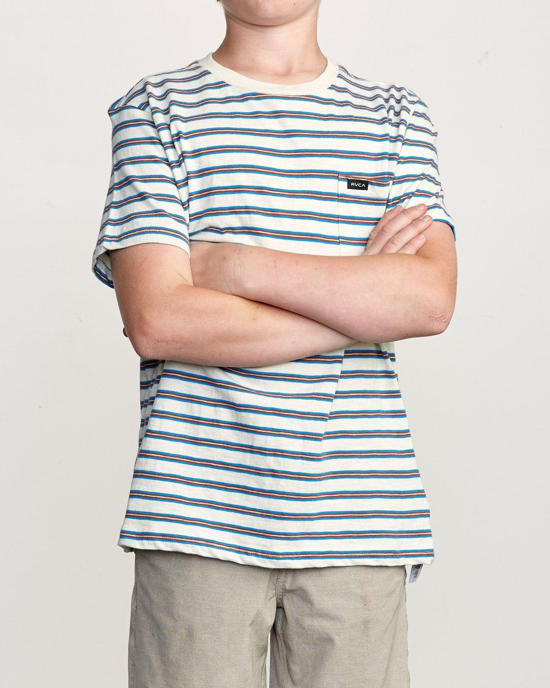 1 Boy's Vincent Stripe Pocket T-Shirt Silver B904URVS RVCA
