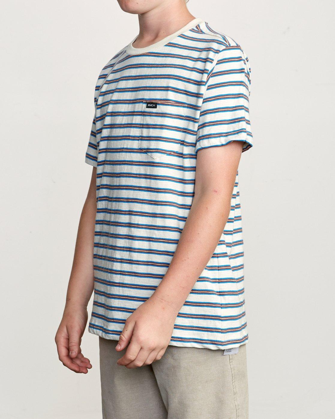 2 Boy's Vincent Stripe Pocket T-Shirt Silver B904URVS RVCA