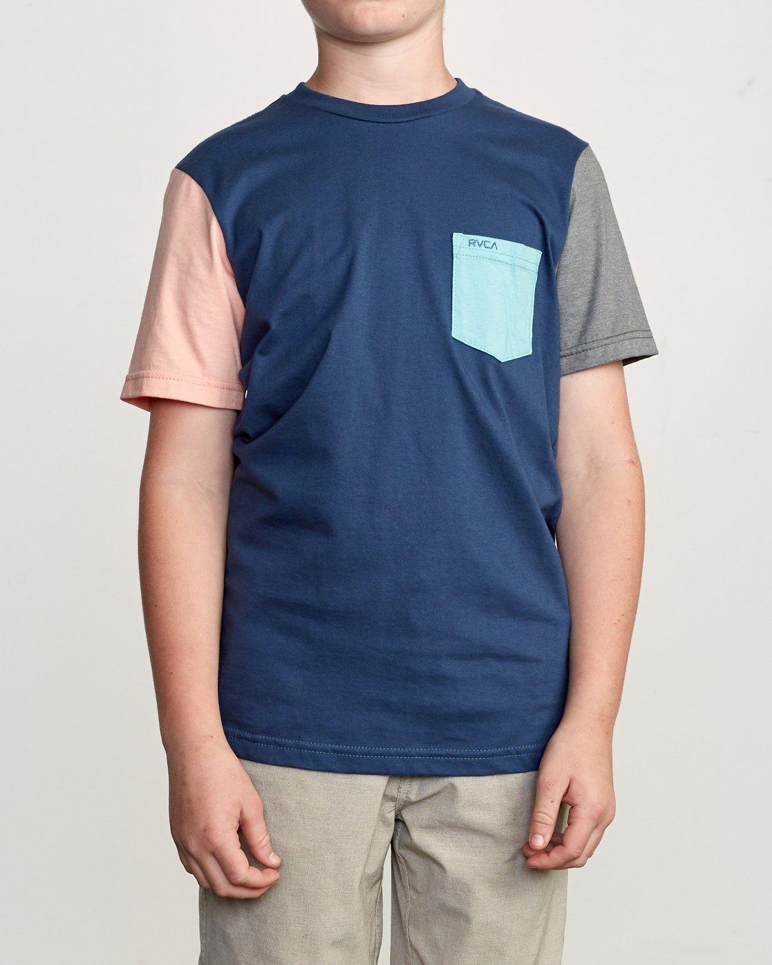 1 Boy's Ollie Color Block T-Shirt Blue B905UROL RVCA