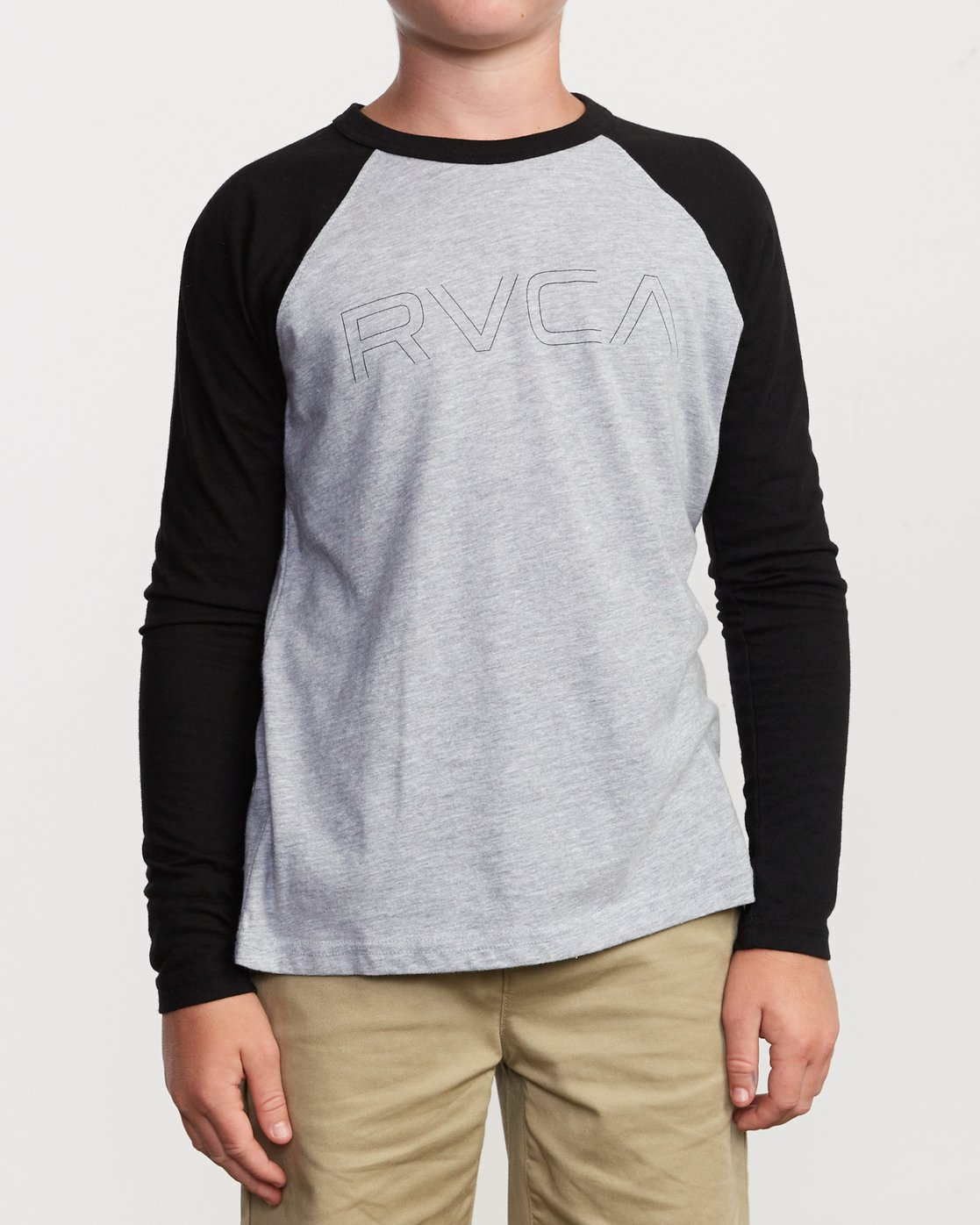 1 Boy's Vale Raglan Long Sleeve T-Shirt Grey B911VRVA RVCA