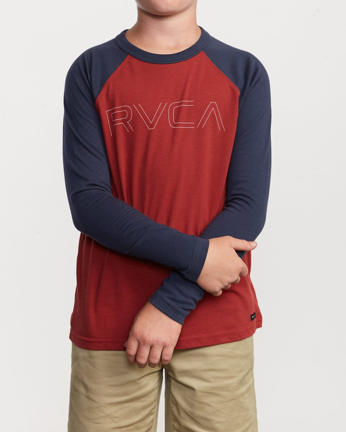 1 Boy's Vale Raglan Long Sleeve T-Shirt Brown B911VRVA RVCA