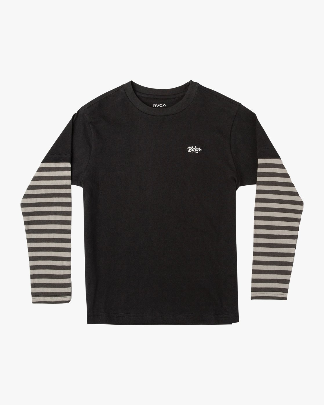 0 Boy's Adored Stripe 2fer Long Sleeve T-Shirt Black B912VRAD RVCA