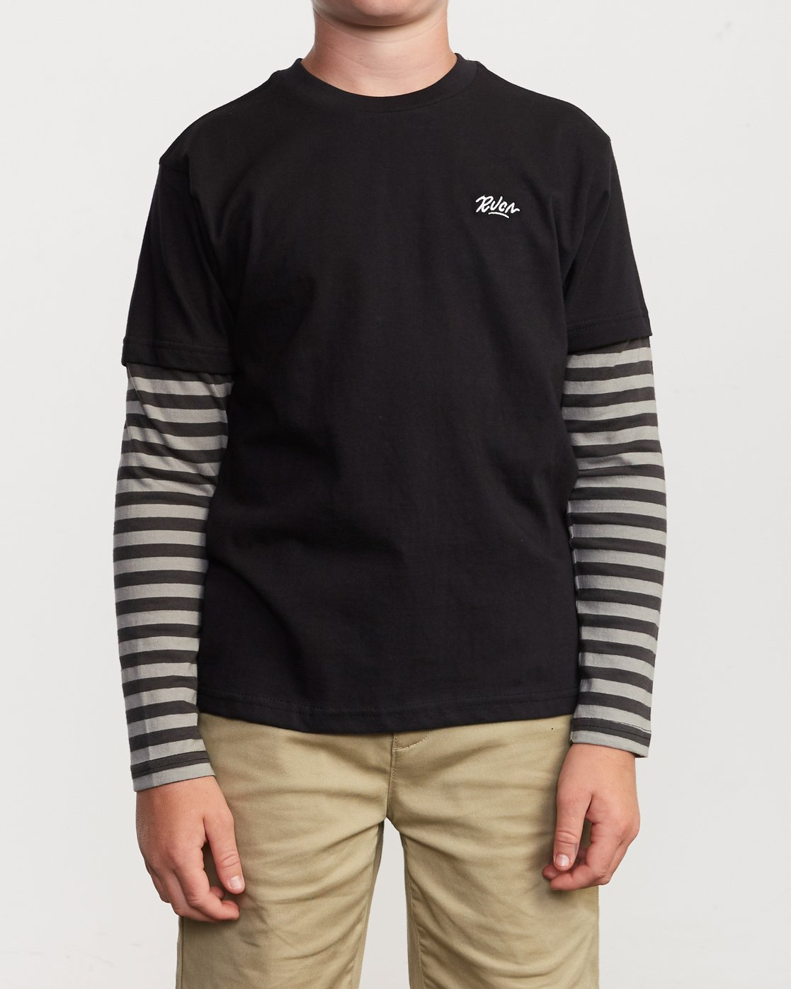 1 Boy's Adored Stripe 2fer Long Sleeve T-Shirt Black B912VRAD RVCA