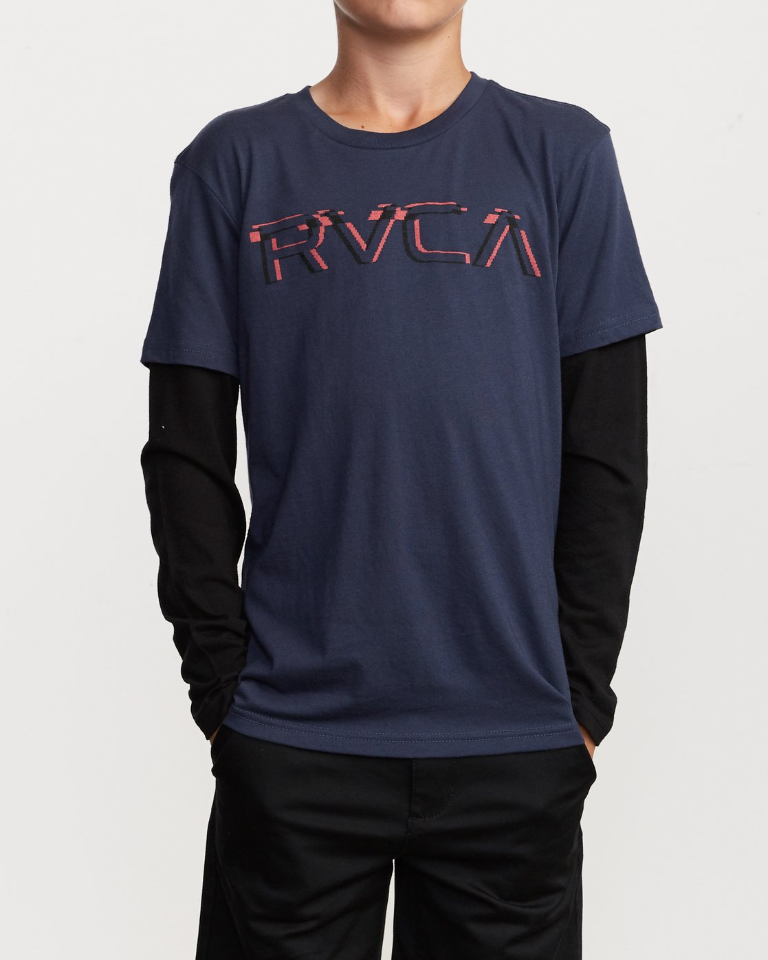 1 Boy's Logo Pack 2fer Long Sleeve T-Shirt Blue B914VRLO RVCA