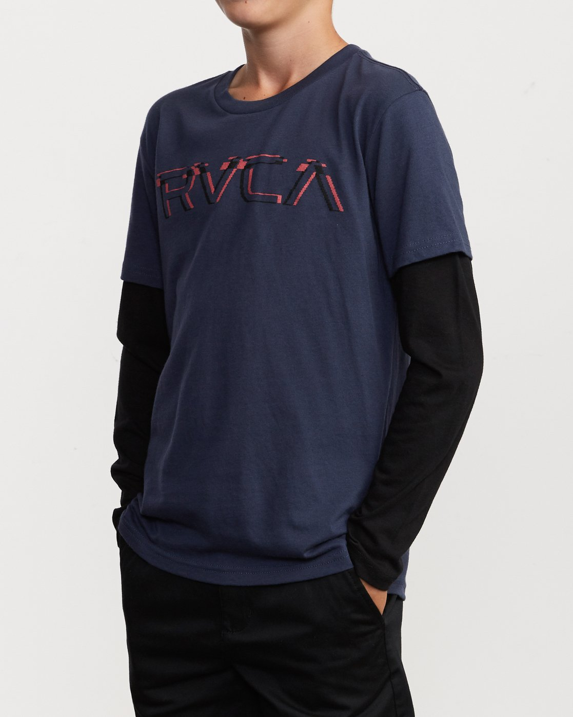 2 Boy's Logo Pack 2fer Long Sleeve T-Shirt Blue B914VRLO RVCA