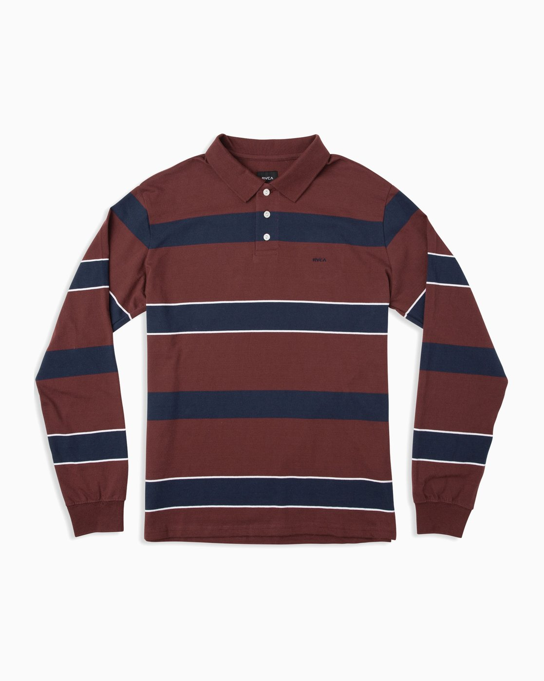 0 Boy's Darklands Striped Long Sleeve Polo Red B951TRDP RVCA