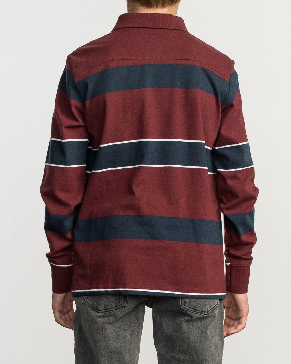 3 Boy's Darklands Striped Long Sleeve Polo Red B951TRDP RVCA