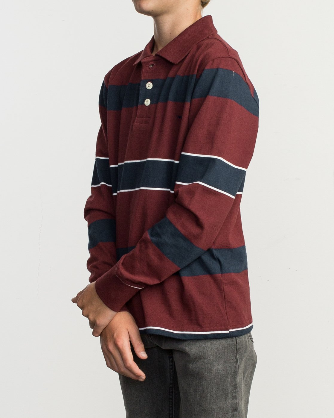 2 Boy's Darklands Striped Long Sleeve Polo Red B951TRDP RVCA