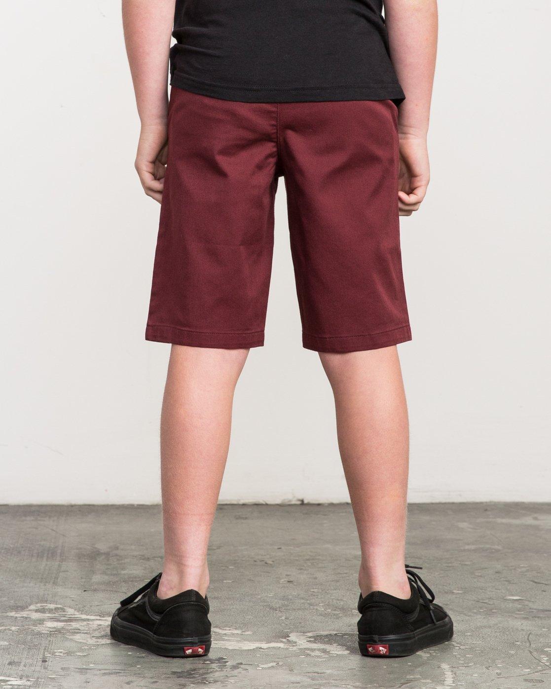 3 Boy's Weekday Stretch Shorts Red BC201WST RVCA