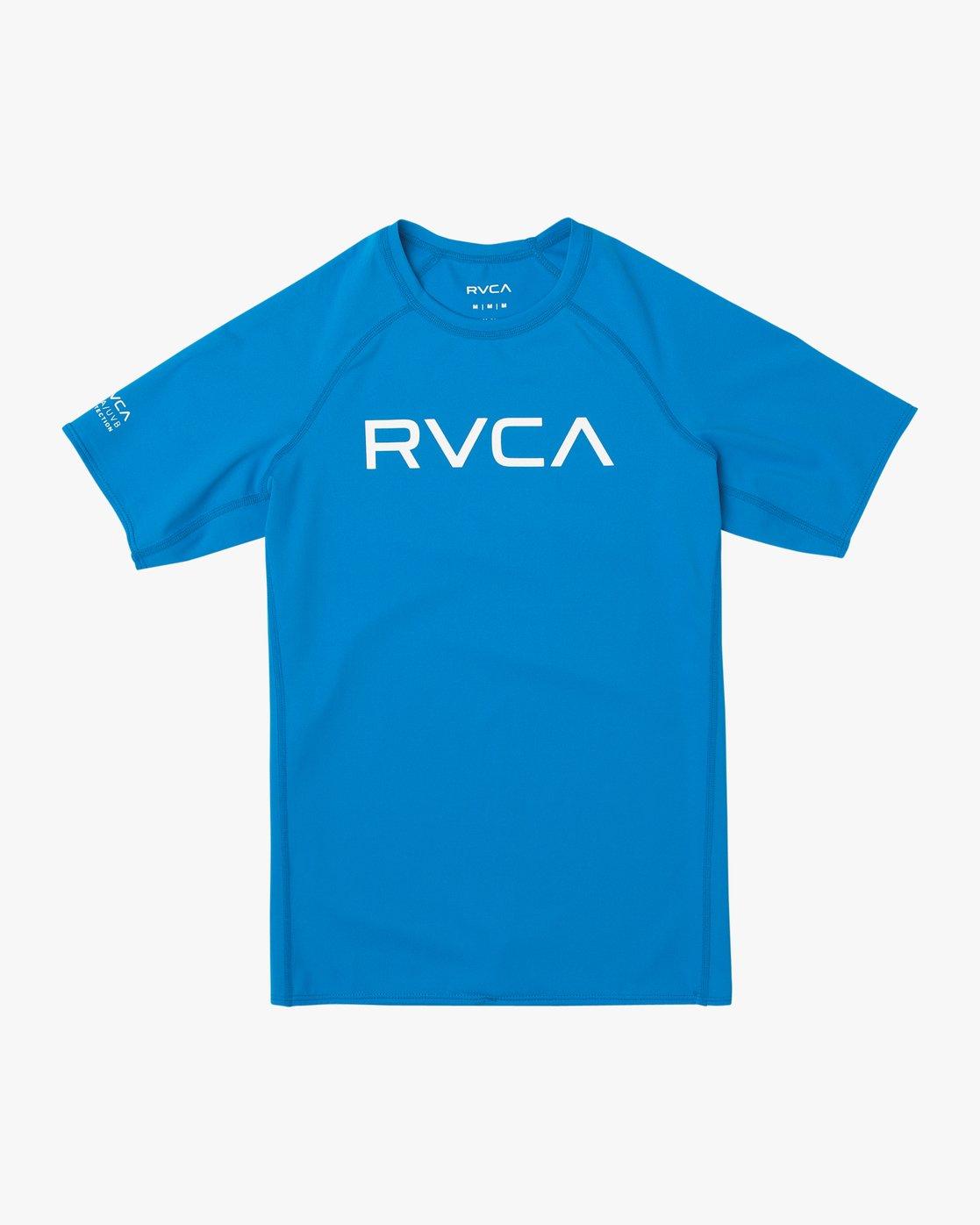 1 Boys RVCA Short Sleeve Rashguard Blue BR10TRSR RVCA