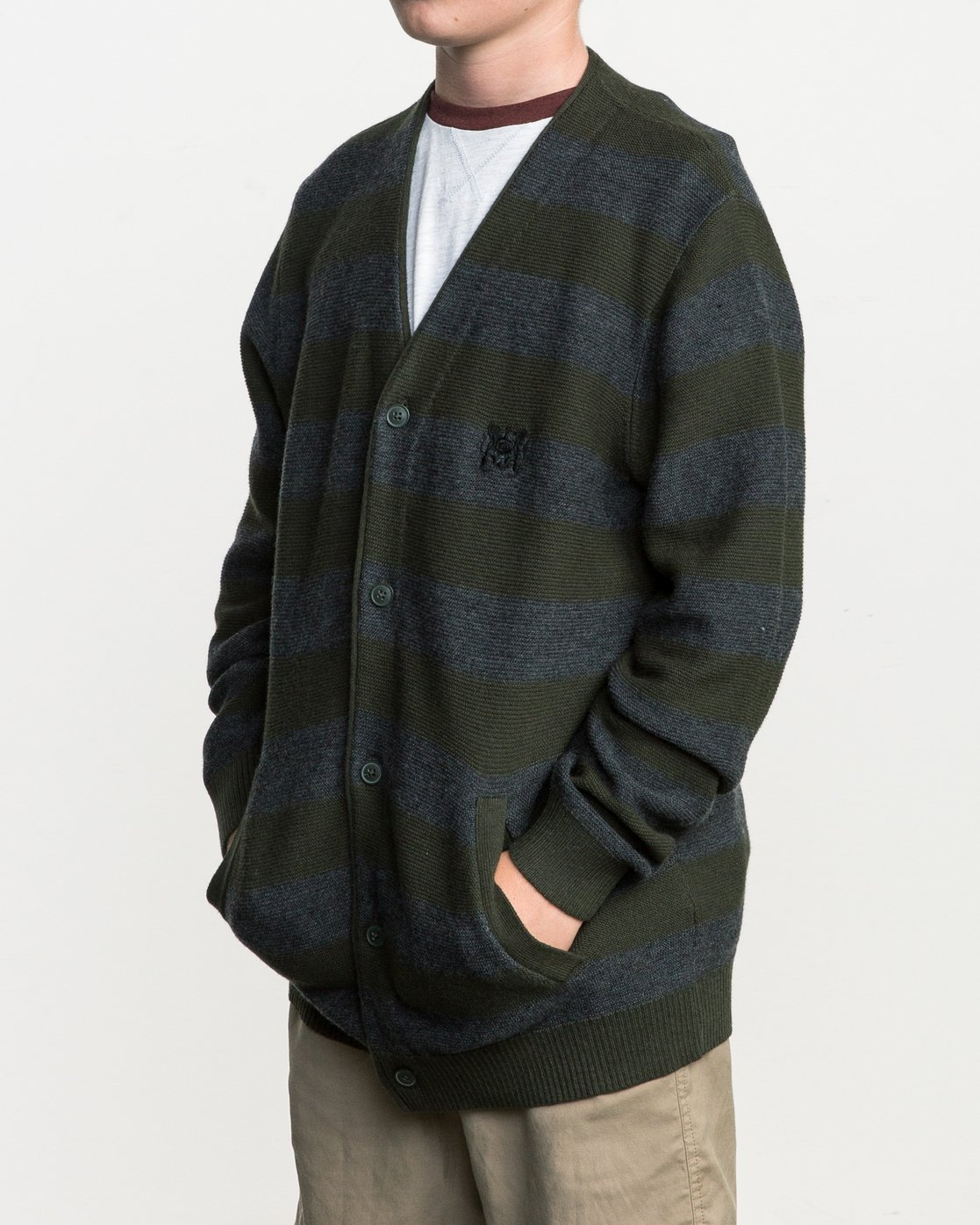 1 Boy's Cali Button-Up Cardigan Green BV40SRCC RVCA