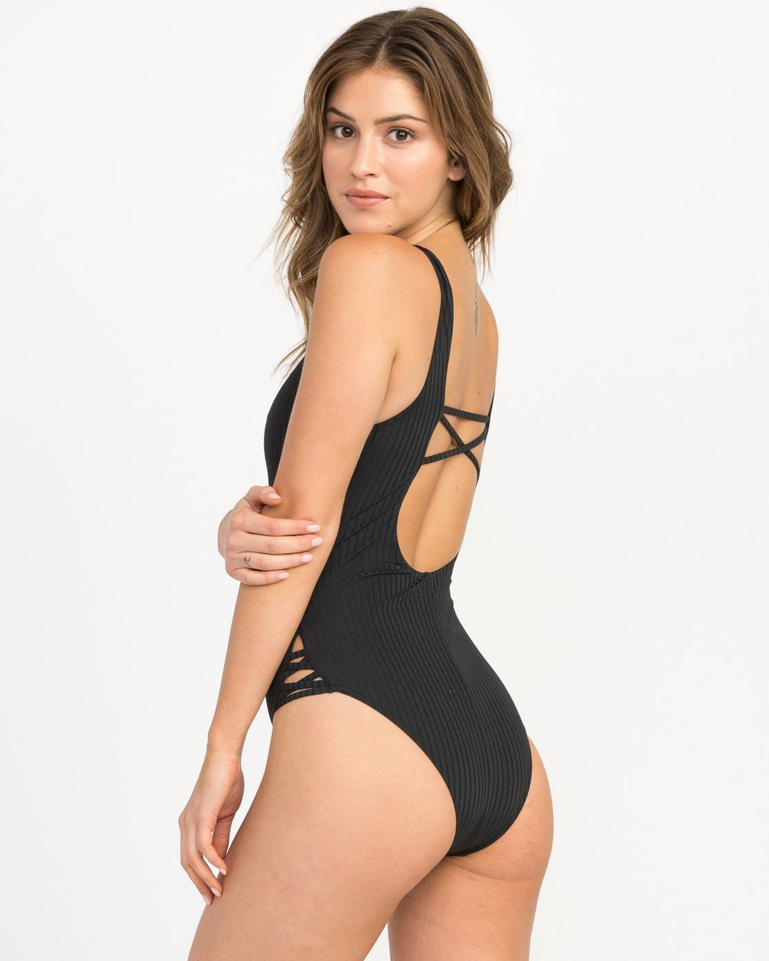 2 ROCKAWAY RIB ONE PIECE Black L3SWRGRVF8 RVCA