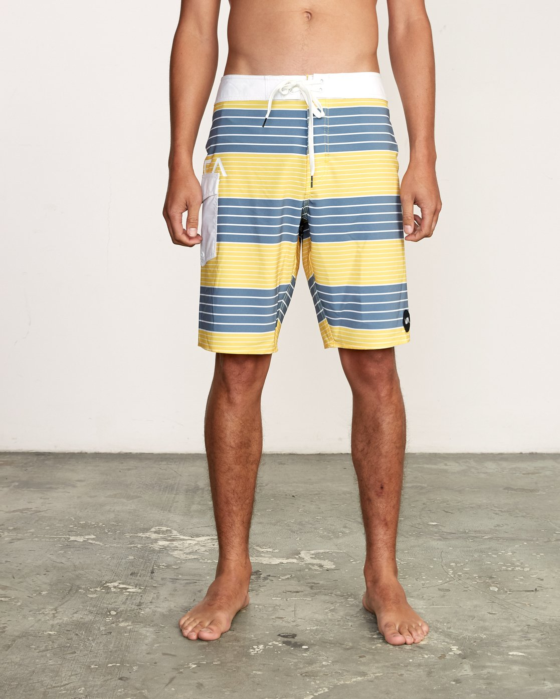 "1 Uncivil Stripe 20"" Boardshort Yellow M164TRUN RVCA"