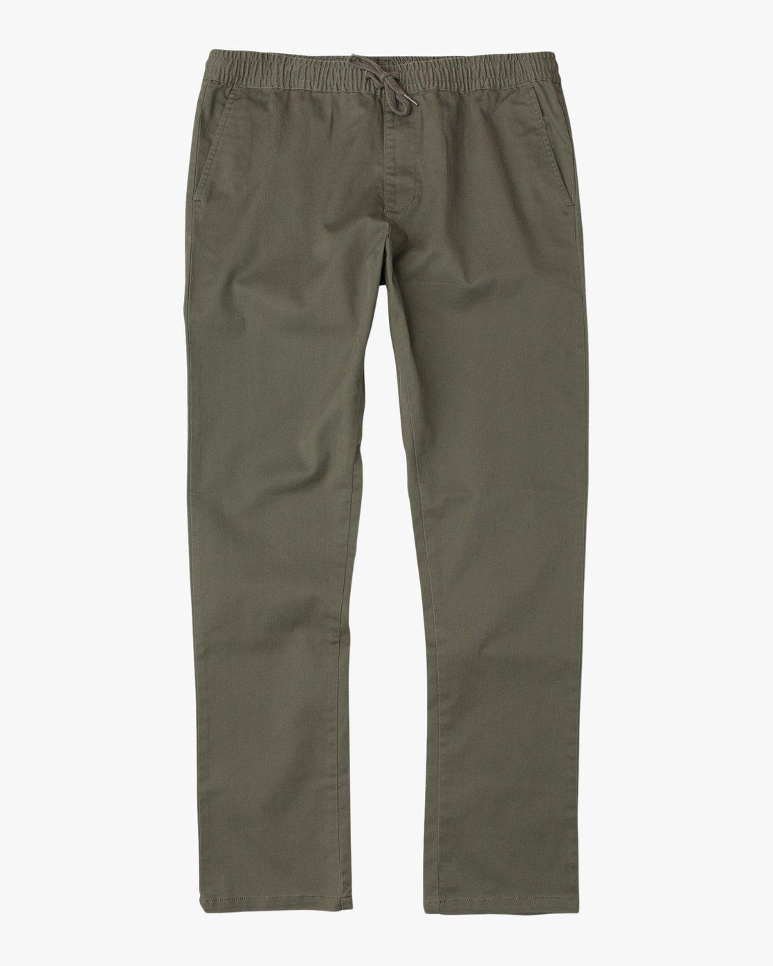6 WeekEnd Elastic straight fit Pant Green M302TRWE RVCA