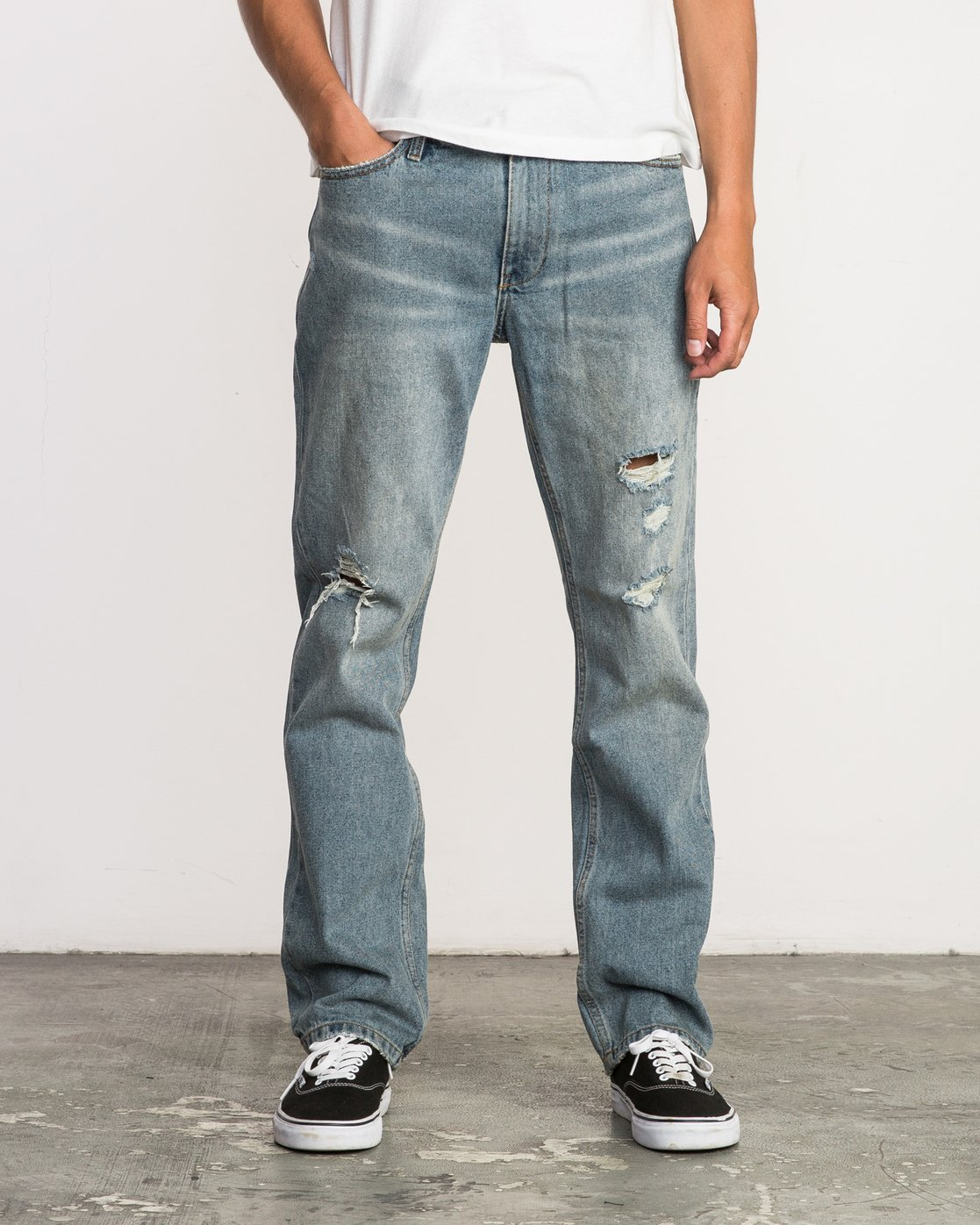 0 Stay RVCA Straight Fit Denim Jeans White M308QRSR RVCA