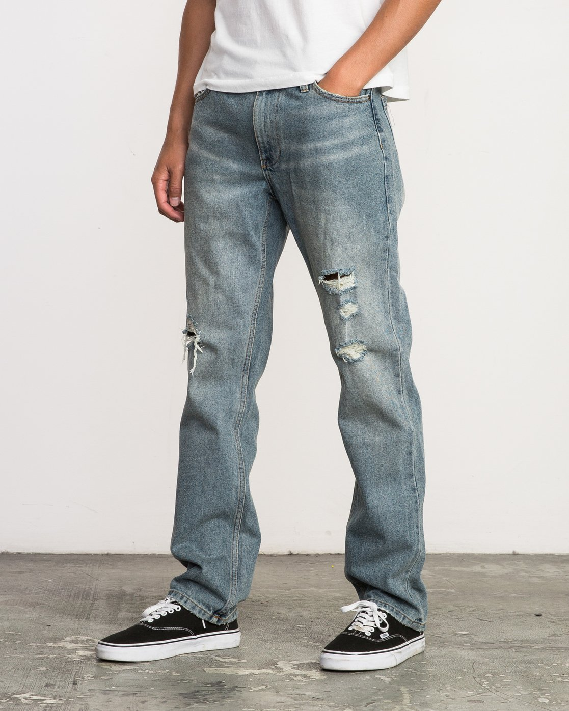 1 Stay RVCA Straight Fit Denim Jeans Blue M308QRSR RVCA