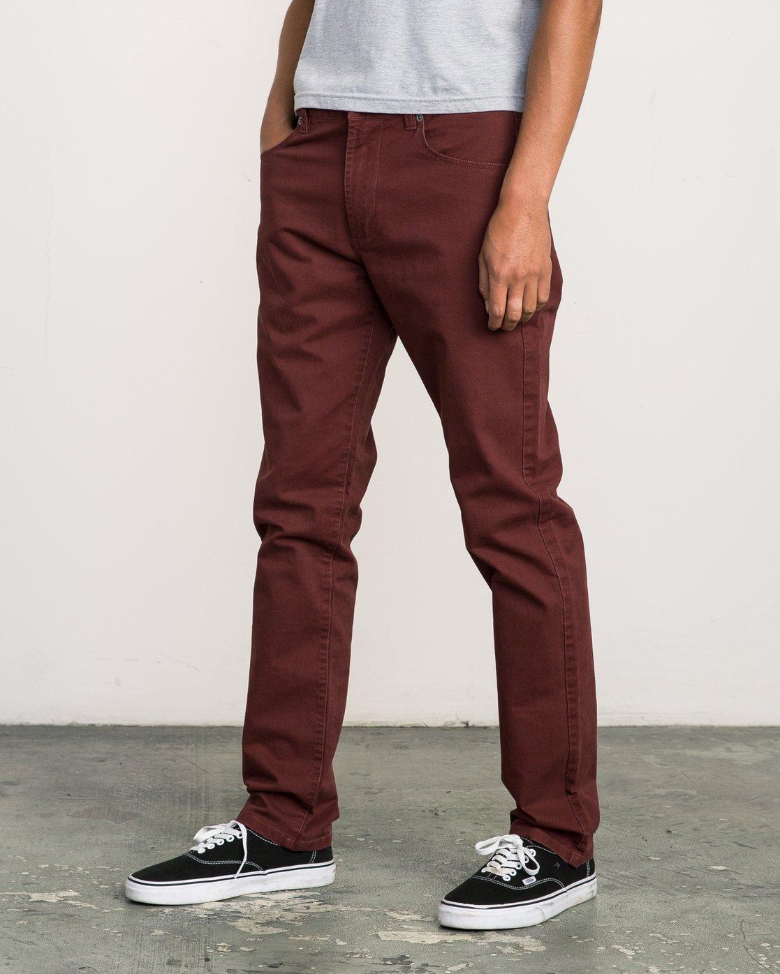 1 Daggers Slim-Straight Twill Pants Red M3301DAG RVCA