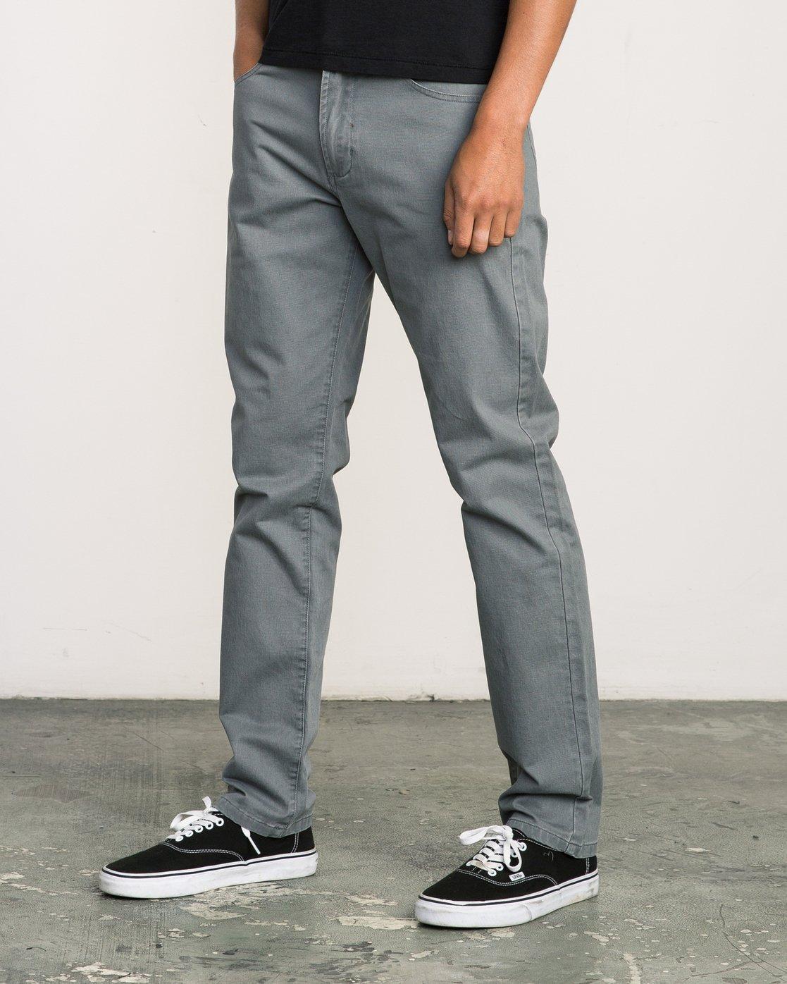 1 Daggers Slim-Straight Twill Pants Grey M3301DAG RVCA