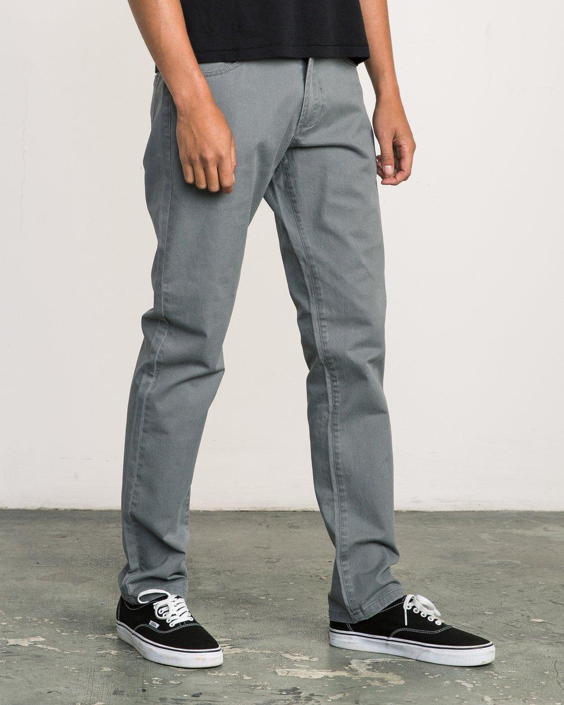 5 Daggers Slim-Straight Twill Pants Grey M3301DAG RVCA