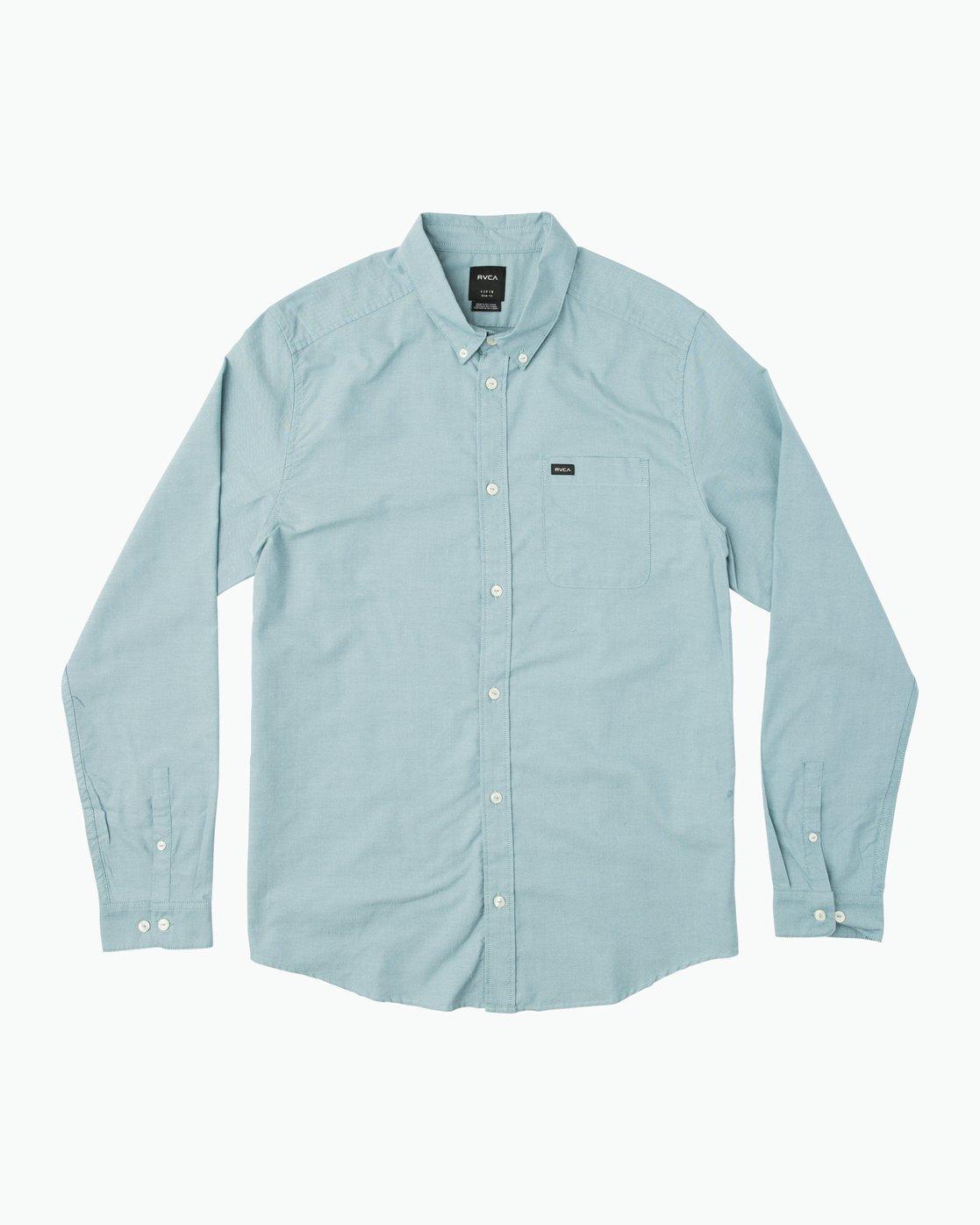 0 That'll Do Oxford Long Sleeve Shirt Blue M3515TDL RVCA
