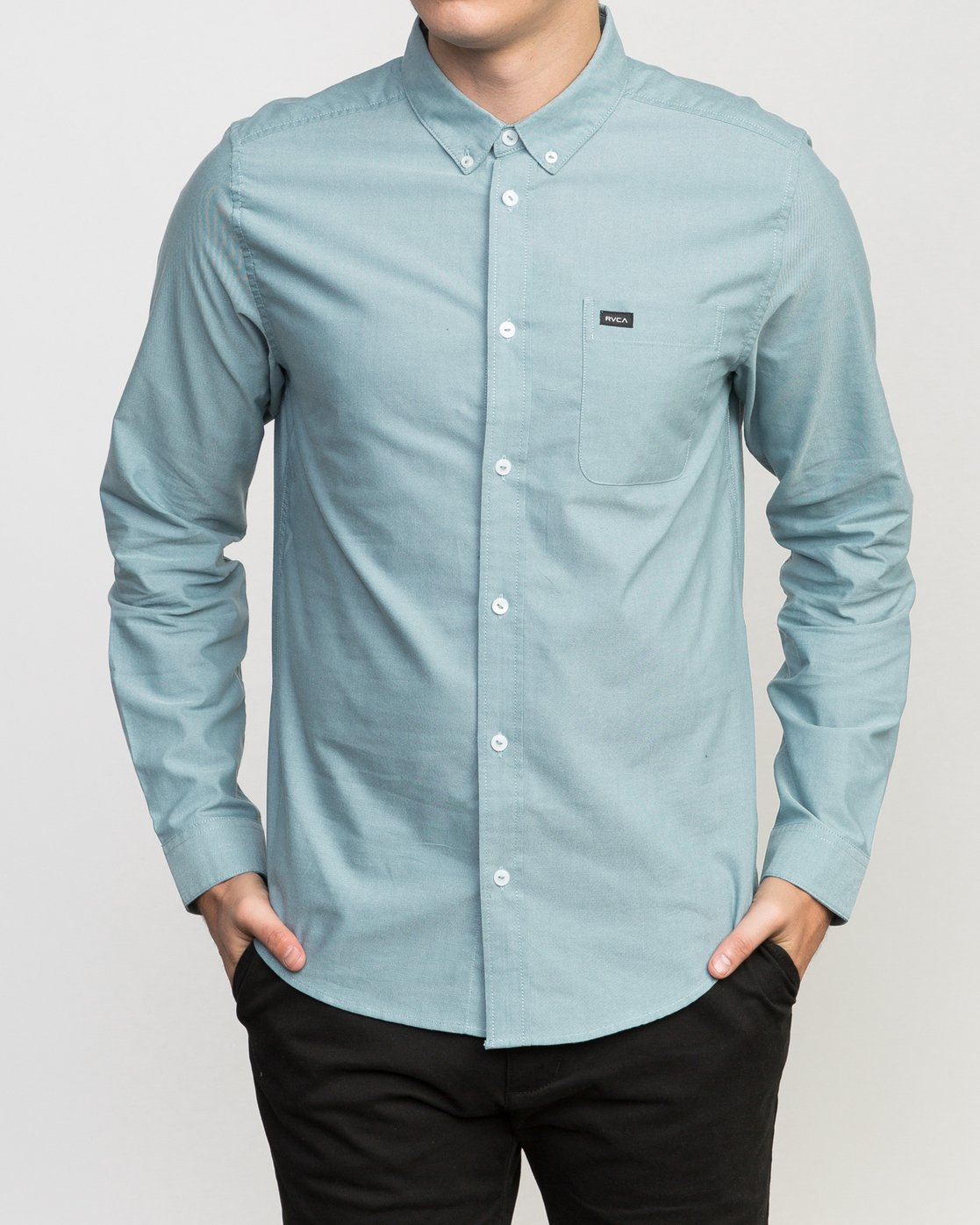 1 That'll Do Oxford Long Sleeve Shirt Blue M3515TDL RVCA
