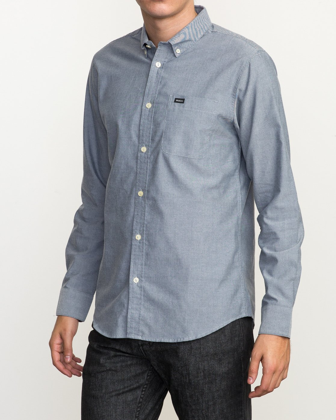 2 That'll Do Oxford Long Sleeve Shirt Blue M3515TDL RVCA