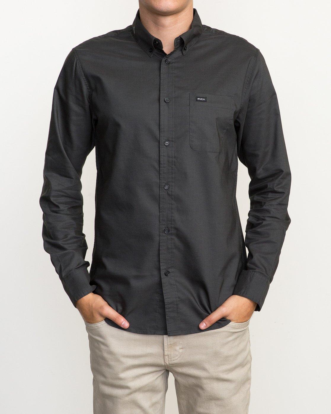 1 That'll Do Oxford Long Sleeve Shirt Black M3515TDL RVCA