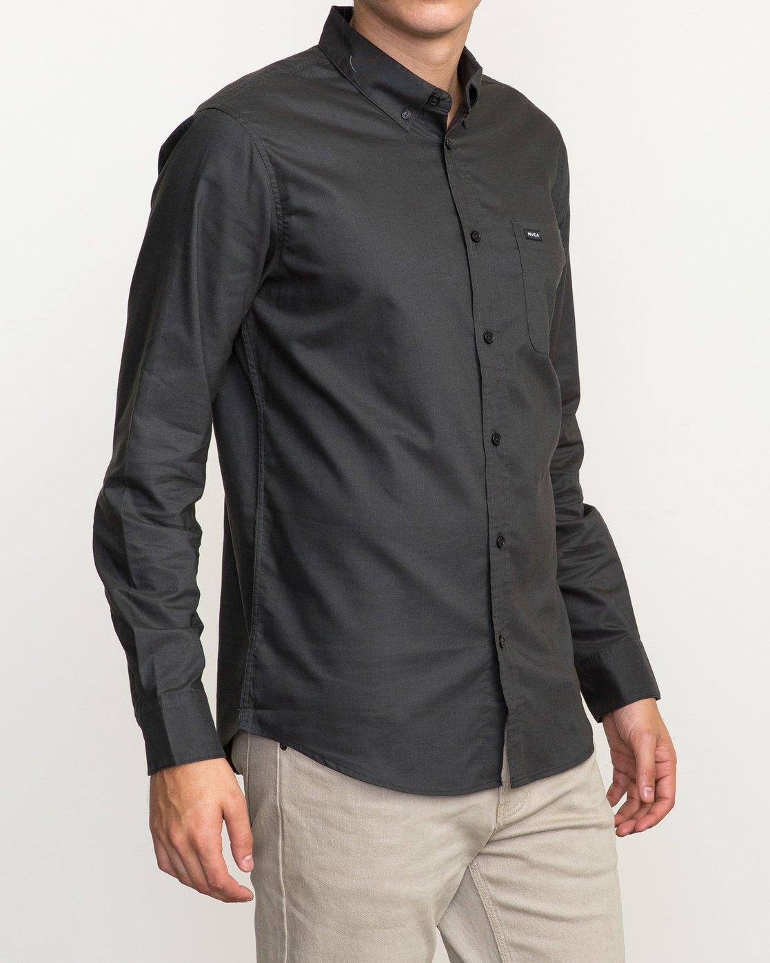 3 That'll Do Oxford Long Sleeve Shirt Black M3515TDL RVCA