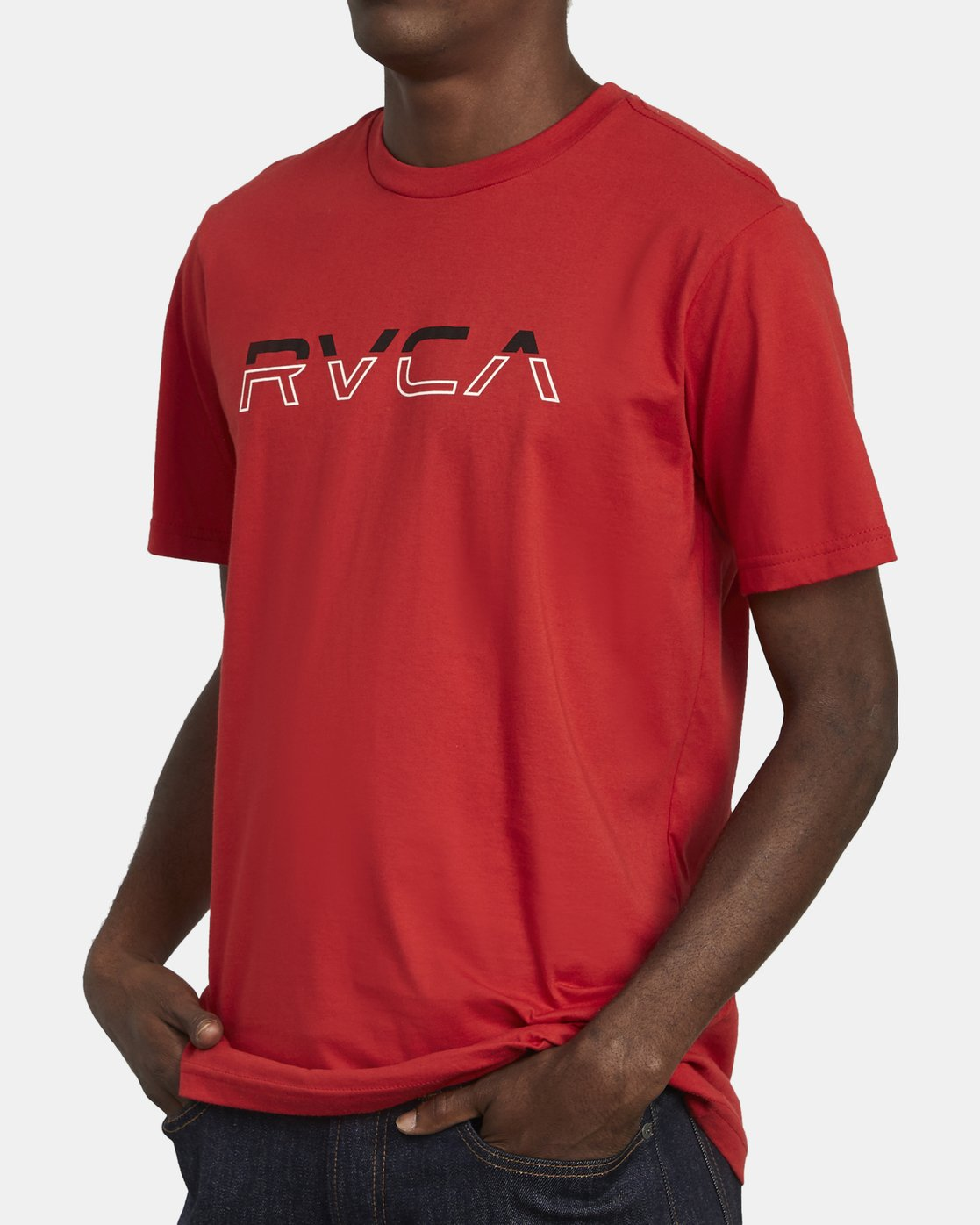 3 SPLIT PIN T-SHIRT Red M4011RSP RVCA