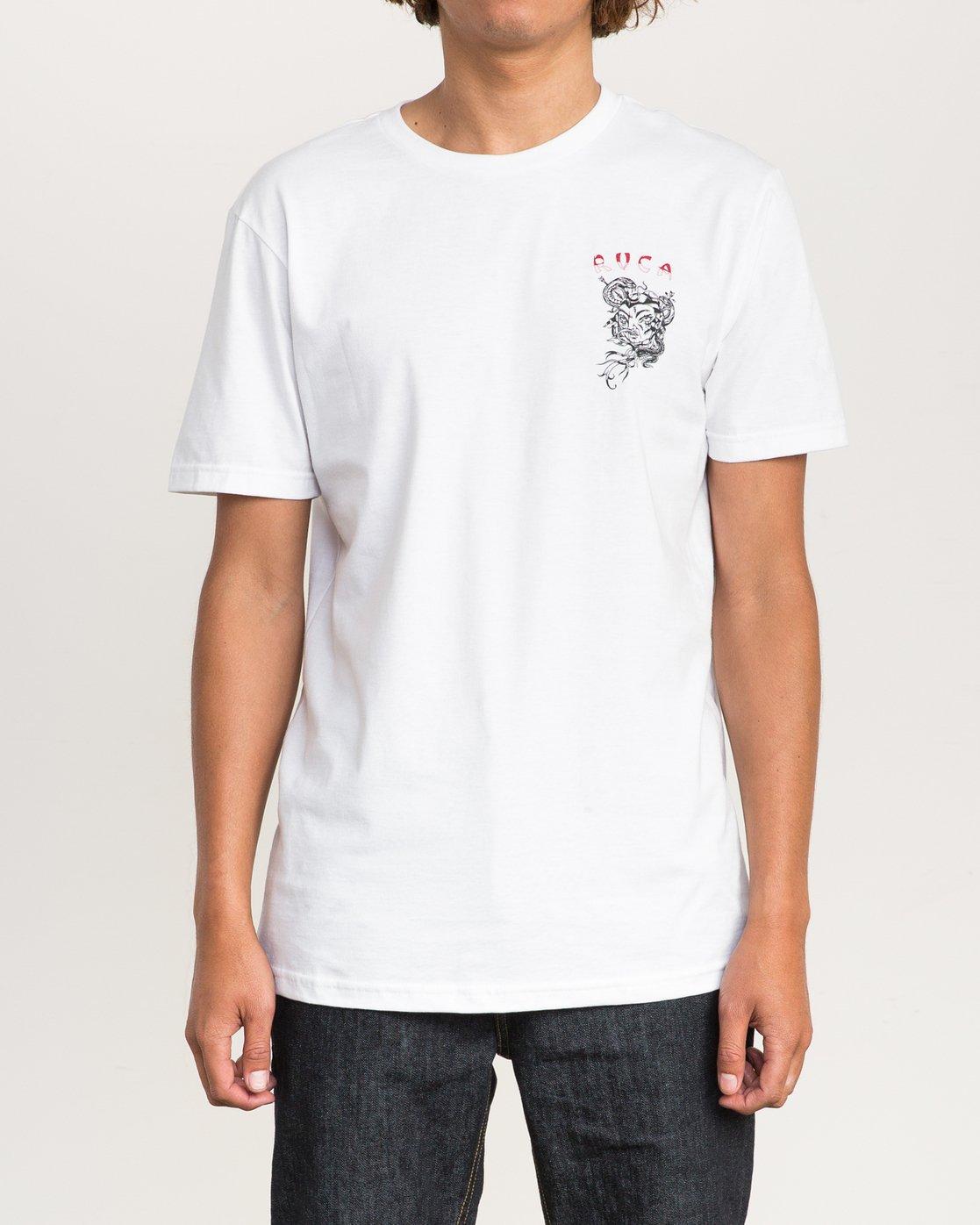2 Dmote Serpentine T-Shirt White M401PRST RVCA
