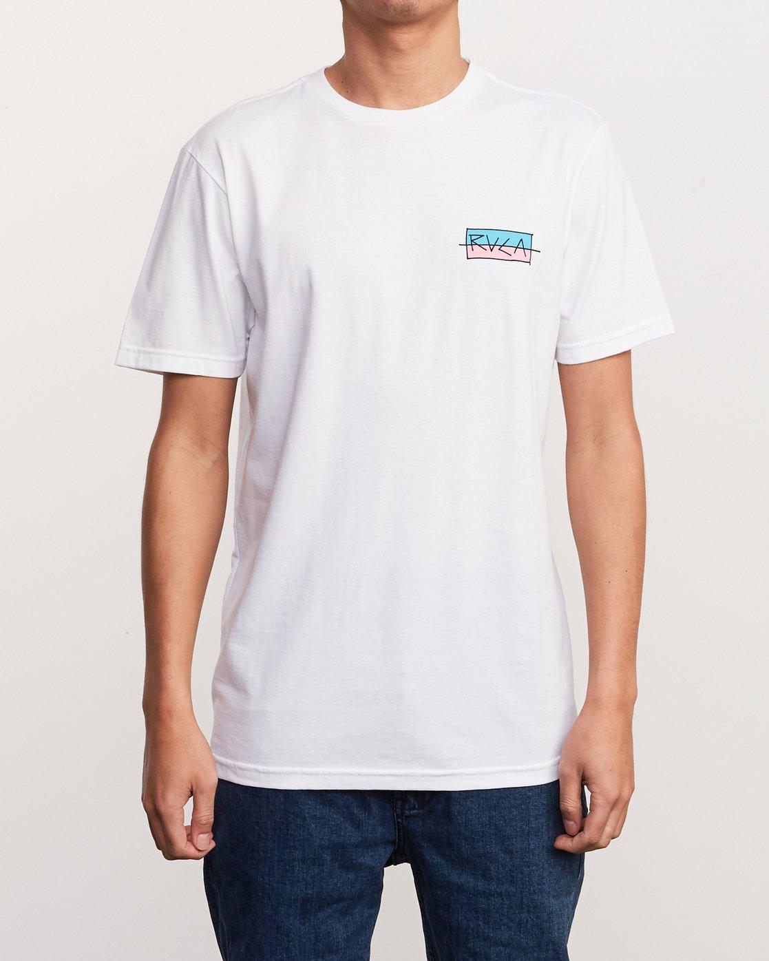 2 Split Scrawl T-Shirt White M401URSP RVCA