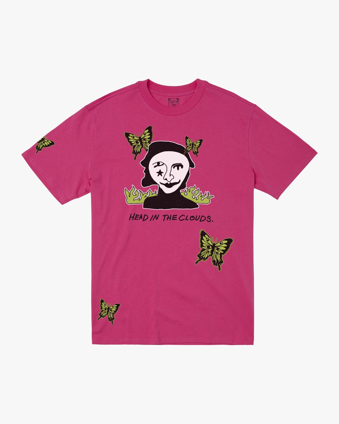 0 HEAD IN CLOUDS SHORT SLEEVE T-SHIRT Pink M4102RHC RVCA