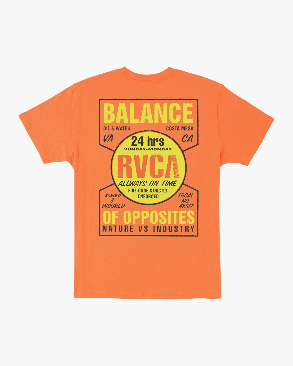 0 Insured T-Shirt Orange M410URIN RVCA
