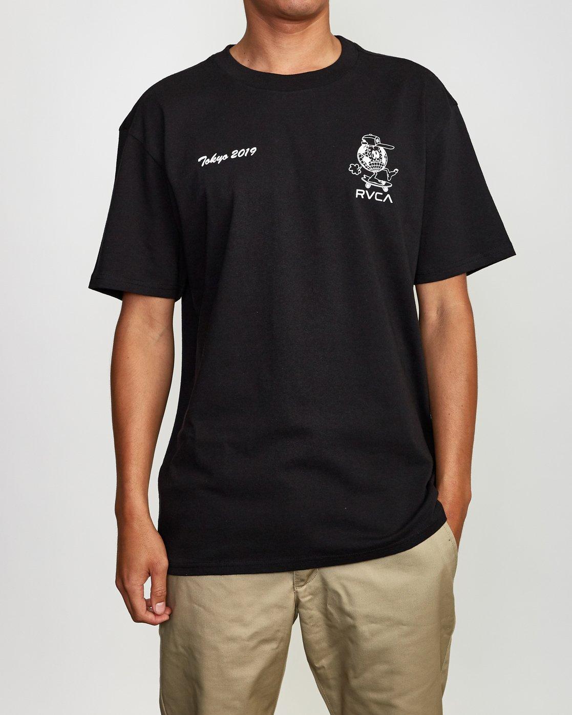 2 RVCA Shibuya T-Shirt Black M410VRRS RVCA