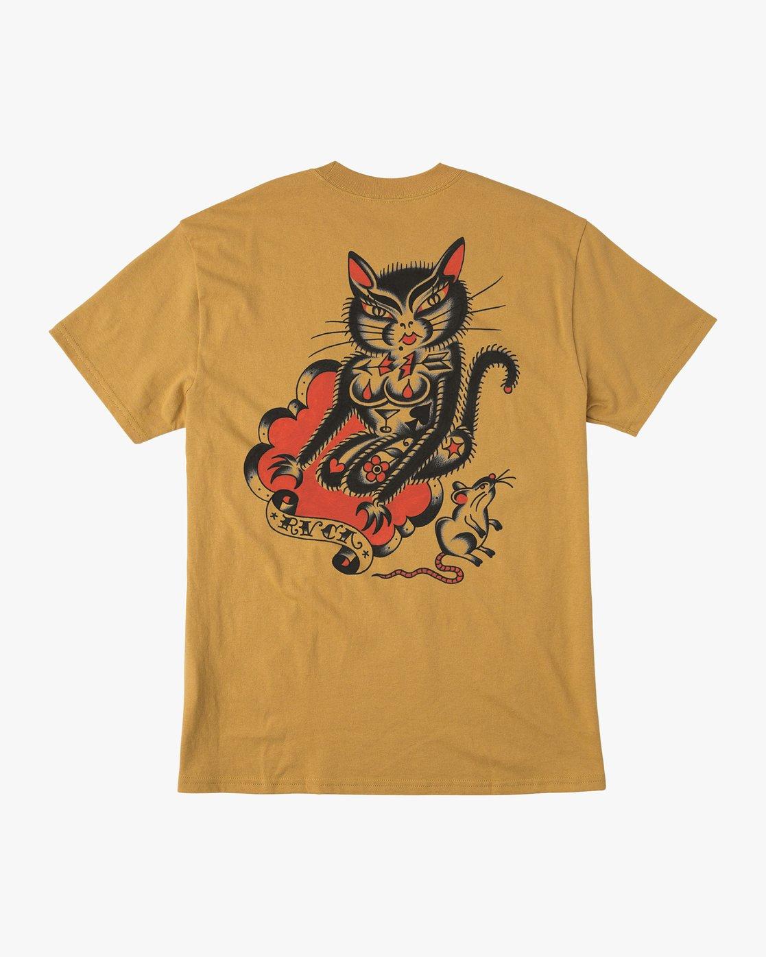 0 Bert Krak Tat Cat T-Shirt Green M414QRTA RVCA