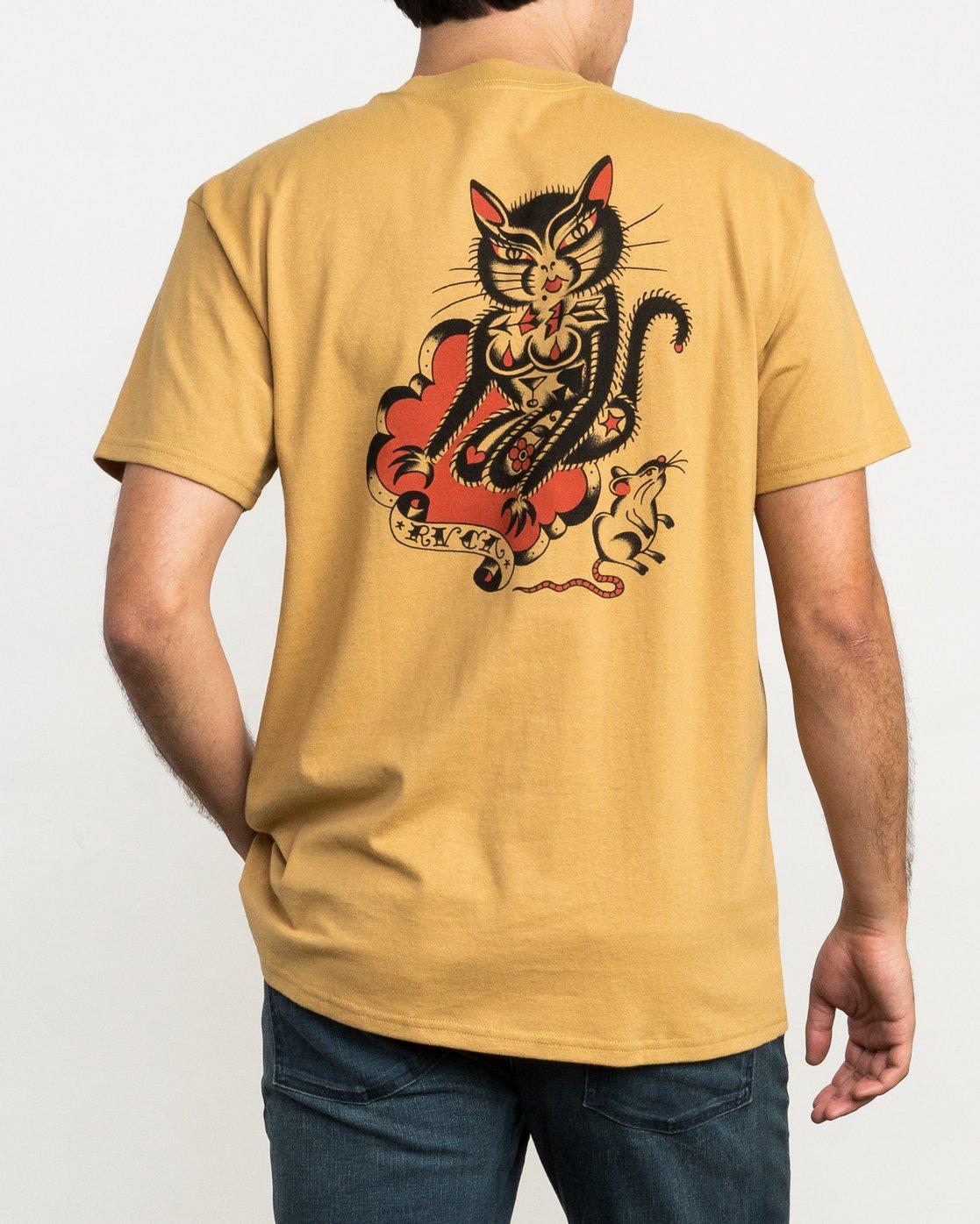 4 Bert Krak Tat Cat T-Shirt Green M414QRTA RVCA